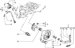 Starting motor - starting lever - 2T 125