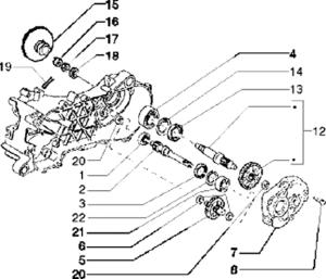 Rear wheel shaft-gearbox-125 2T